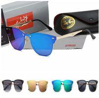 lunettes de soleil cyclistes ovales achat en gros de-RAY BAN gros nouvelles lunettes de soleil marque de mode style vintage cadre métallique cadre d'or en plein air chaud conception lunettes style pilote classique