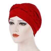 Wholesale gold braiding hair resale online - Women Knot Soft Wrap Cap Casual Head Scarf Fashion Muslim Braid Hair Accessories Cancer Chemo Stretch Elastic Turban Hat