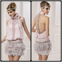 Sassy Pink Chiffon Cocktail Party Dresses Evening Wear Beading Feather Appliques High Neck Sleeveless Open Back Short Prom Party Dresses