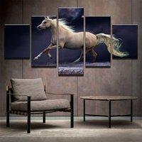 pintura al óleo lienzo caballo blanco al por mayor-Correr al galope caballos blancos Sunset 5 piezas de combinaciones HD sin marco lienzo de pintura al óleo impresa decoración de la pared del cartel Pintura