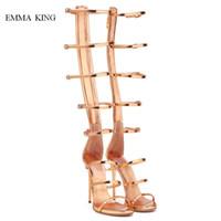 talon de sandales à genou en or achat en gros de-Dames - Sandales gladiateur en or - bande étroite - creux - bottes au genou - talons aiguilles - boucle d'été - sandales à bride