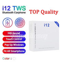 Wholesale i12 TWS Ture Wireless Earbuds Airbuds Bluetooth Headphones Touch Control Auto Pairing Power up Binaural Call Heaset Earphone PK i18 i16