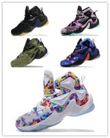 Wholesale lebron shoes online - Cheap New Lebron XIII basketball shoes Blue Black Gold Gym Red Galaxy Brown Grey White Kids Men Shoes