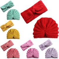 головной убор для девочек оптовых-2Pcs Baby Kids Hat Knitted Bow Knot Headband Girls Turban Hat Beanie Cap Children Cap Kids Hats For Toddlers Newborn Accessories