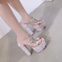 sapato rosa de 16 cm venda por atacado-NEW 16 cm Adorável rosa strass gema PVC transparente plataforma de espessura de salto alto de luxo mulheres designer sapatos