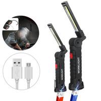 hängende haken-taschenlampe großhandel-5 Arbeitsmodi Tragbare COB Taschenlampe USB Wiederaufladbare LED-Arbeitsleuchte Magnetische COB Taktische Taschenlampe Mit Aufhängehaken