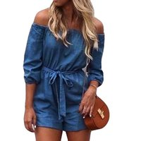 macacao jeans großhandel-MUQGEW Overall für Frauen Damenmode Feste Trägerlose Kurze Jeans Hosen Casual Overall vadim macacao feminino