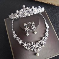Wholesale necklace water pearls for sale - Bling Bride Headwear Three Piece Set Crystal Pearls Necklace Water Drill Earrings European and American Bridal Crown Sets Jewelry Marriage