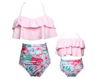 семья смотрит на одежду оптовых-Emmababy Mother Daughter Swimwear Family look Mommy and Me Bikini Swimsuit Family Matching Clothes Mom Daughter Clothes
