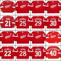 roseau rouge achat en gros de-21 TOMAS TATAR 22 DINO CICCARELLI 25 JOHN OGRODNICK 28 REED LARSON 29 JIM RUTHERFORD Detroit Red Wings 2002 Maillot de hockey CCM Extérieur