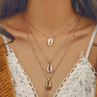 Wholesale gold seashell charms for sale - Group buy pretty Multilayer Necklaces Three Layers of Shell Pendant Bohemian Necklace Natural Shell Gold Cowrie Women Jewelry Cowry Seashell Necklace