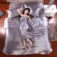 Wholesale hot pink black bedding sets resale online - HOT pure satin silk bedding set Home Textile Full Queen King size bed sheet bedclothes duvet cover flat sheet pillowcases