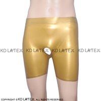 pantalones cortos de látex hombre al por mayor-Calzoncillos dorados de látex dorado con agujeros Fondos de goma Calzoncillos Ropa interior para hombres Hombres Use DK-0021
