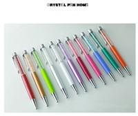 logo seçenekleri toptan satış-Yazı özel LOGO Elmas kristal kalemler Lazer engrawing tükenmez kalem öğrencileri hediyeler kalem Metal bullet stockpen birçok renk seçeneği ...