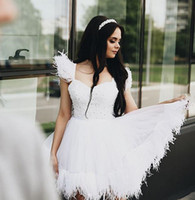 Wholesale beaded empire cap sleeve for sale - Group buy 2019 real picture short A Line Wedding Dresses Bridal Gowns Sexy beaded Pearls with Ostrich feather design wedding gowns vestidos de novia