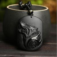 Wholesale necklaces manufacturers resale online - Natural obsidian Wolf totem pendant for men and women crystal jewelry manufacturers men and women s necklace pendant