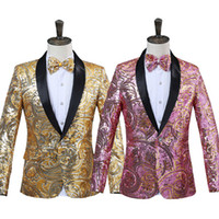 мужские костюмы оптовых-2018 Mens Pink Gold Flower Sequins Fancy Paillette Wedding Singer Stage Performance Suit Jacket Annual DJ Blazer With Bow Tie