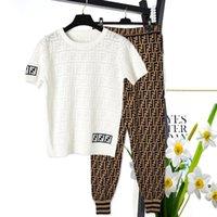 ipek kısa kıyafetler toptan satış-2019 yeni kadın moda F logosu mektubu baskı kısa kollu buz ipek örme gömlek ve uzun pantolon 2 adet twinset tasarım pist suit