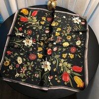 ingrosso fazzoletto da collo oro-Womens floral Print Sciarpa design di lusso Neckerchief per donne Foulard Femme Joker oro piccole sciarpe quadrate 70cm 70cm