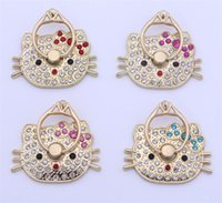 Wholesale 360 Degree Cut Hello Kitty Metal Diamond Ring Holder Stend Phone Finger Holder Stand for Samsung S5 HTC huawei