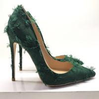 зеленые туфли на высоком каблуке оптовых-Keshangjia  dark green women's shoes pointed shallow mouth sexy single shoes 12cm party evening dress high heels