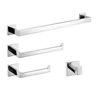 Wholesale chrome steel rack resale online - Mirror Polished Stainless Steel Bathroom Accessories Kit Quality Chrome Towel Rack Towel Bar Paper Holder Robe Hook