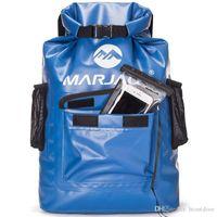 su geçirmez kuru paketler toptan satış-Rahat Siyah destekli omuz askıları ile 22L 16L Kanosu Kano Su geçirmez sırt çantası Kuru Çanta Kamp Yürüyüş Sırt Çantası Günü Paketi