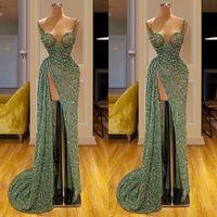 Wholesale light green dresses women resale online - Vintage Matcha Green Glitter Long Evening Dresses Spaghetti Mermaid Women Party Gowns vestidos de fiesta de noche Prom Dress