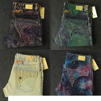 männer jeans größe 42 32 großhandel-Neue Herren Robin Jeans Rock Revival Designer Denim Jean mit Kristall Nieten Taschen Biker Hosen Hosen Herren Größe 32-42