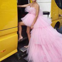 сексуальное розовое платье-пачка оптовых-Розовый Многоуровневые Высокие Низкие Туту платья выпускного вечера 2020 Off плеча Puffy Длинные вечерние платья Chic Тюль Пром платье