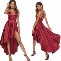 Wholesale dresses for weddings for sale - Group buy Evening Dresses for Women Satin Wine Sexy Deep V Neck Bandage Back Asymmetric Hem Summer Prom Party Club Cocktail Wedding Dress
