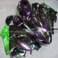 motorrad kundenspezifische körperinstallationssatz großhandel-Botls + Custom ABS lila Flammen Verkleidung für Suzuki GSX-R1300 1997 1998 1999 2000 2001 2002 2003 2004 2005 2006 2007 Body Kit Motorradverkleidung
