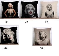 tela de decoración de oficina al por mayor-Marilyn Monroe Series Funda de almohada Funda de almohada de lino Sofá de coche Siesta Funda de cojín 45 * 45 CM Home Cafe Oficina Paño suave Decoración Regalo para un amigo