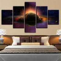 обрамление 3d картины оптовых-5 панелей большой размер планеты с лунами-3D пространство в рамке искусства печати картина плакат искусство домашнего декора картина маслом на холсте