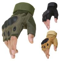 guantes de combate táctico al por mayor-Deporte al aire libre Táctico Ejército Airsoft Tiro Bicicleta Combate sin dedos Paintball Duro Carbono Nudillo Medio dedo Ciclismo Guantes