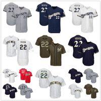 gri mavi beyzbol forması toptan satış-Erkekler Kadınlar Gençlik Brewers Formalar 22 Yelich Boş Forma Beyzbol Forması Beyaz Gri Gri Lacivert Hizmet Oyuncular için Salute Hafta Sonu Tüm yıldız