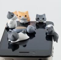 karikatür kulaklık toz takımı toptan satış-3.5mm Peynir Kedi Anti Toz Plugy Sevimli Karikatür Tasarım Cep Telefonu kulak Caps Fiş Peynir Kulak Anti-Toz Kulaklık Tak iphone Samsung