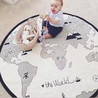 tambores de mão chinês venda por atacado-2019 Novo Bebê Infantil Crianças Rodada Mapa Do Mundo Jogar Tapete Jogo Mat Tapete Do Quarto Rastejando Cobertor