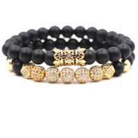 ingrosso gioielli di pietre nere-2 pz / set 8mm cubic zirconia braccialetto gioielli di design di lusso nero pietra smerigliato donne bracciali uomini buddha perline braccialetto regalo