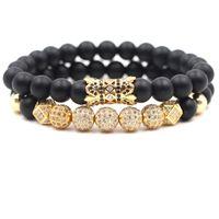 buddha gold großhandel-2 teil / satz 8mm Zirkonia Armband Luxus Designer Schmuck Schwarz Matt Stein Türkis Frauen Bracelects Männer Buddha Perlen Armband Geschenk