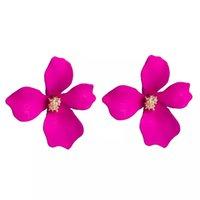 büyük renkli saplı küpeler toptan satış-Yaratıcı Renkli Çiçekler Damızlık Küpe Geometrik Kadınlar Için Basit Kaplama Alaşım Büyük Küpe Moda Kış Takı Aksesuarları Toptan