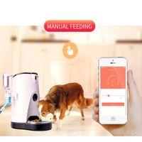 köpek fişleri toptan satış-4L ABD / İNGILTERE / AB TAK Kedi Köpek Su Gıda Otomatik Pet Besleyici 110-240 V Telefon APP Uzaktan Operasyon Otomatik Pet Besleyici Köpek Kedi için
