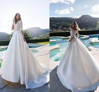Wholesale white ball gown satin wedding dress resale online - Nora Naviano Elegant Wedding Dresses Jewel Lace Appliques Satin Beach Bridal Gowns Sweep Train Ball Gowns Wedding Dress Robe De Mariée