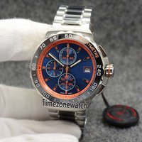Wholesale watches f1 quartz online - New F1 Formula Black Bezel Orange Inner Blue Dial Date Miyota Quartz Chronograph Mens Watch Stopwatch Two Tone Stainless Steel Watches Z08