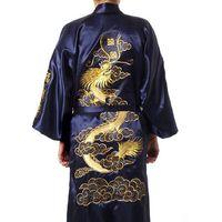 Wholesale navy blue silk kimono online - Navy Blue Chinese Men s Satin Silk Robe Embroidery Kimono Bath Gown Dragon Size S M L Xl Xxl Xxxl S0008 Q190417