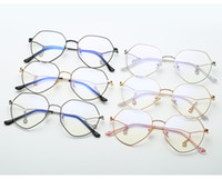 Wholesale metal myopia frame for sale - Female Polygon Metal Glasses Frame With Pendant Chain Sunglasses Frame Retro Flat Clear Lenses Can Be Changed With Myopia