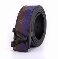 cinturon de hombre jaguar al por mayor-Cinturones de diseñador de moda de cuero genuino de lujo de alta calidad para hombre Jaguar hebilla lisa cinturón de banda ancha para hombres cinturones de negocios para hombres cinturones