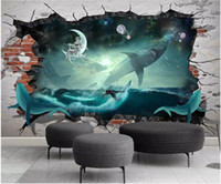 Wholesale whale decor for sale - Group buy WDBH d wallpaper custom photo on a wall Sea whale shark starry sky background living room Home decor d wall murals wallpaper for walls d