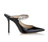 elmas saplı yüksek topuklu sandalet deri toptan satış-Pist Moda Kadın Deri Ayakkabı Sandalet Terlik Zarif Bayanlar Rhinestones Yüksek topuklu Ayakkabı Yaz Terlik Boyutu 35-43