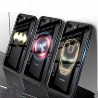 iphone cubierta spiderman al por mayor-Marvel Spiderman luminoso caja de teléfono de cristal templado para venado de Spiderman para iPhone XS XR 8 7 Plus 6 6 s Anti-scratch TPU Volver cubierta de la caja